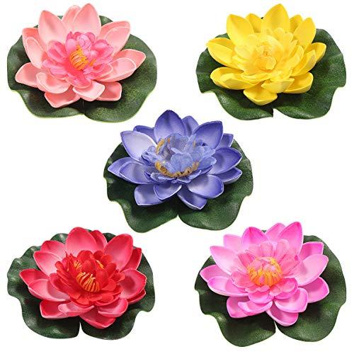 CLISPEED 5 Stück Wasser Schwimmende Lotusblumen Realistische Schaum Seerose Outdoor Dekoration Ornament für Garten Koi Fischteich Aquarium Pool Hochzeit (Rot Gelb Blau Rosig Rosa)