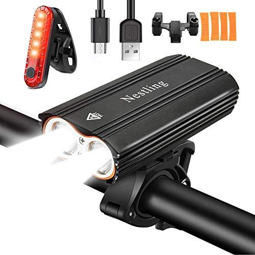 Nestling® Luci LED per Bici, Luci Bicicletta LED Ricaricabili USB, 2400 lumens 4 modalit, Impermeabili IP65 Luce Bici Anteriore e Posteriore Super Luminoso Luce Bici LED per Bici Strada e Montagna