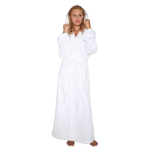 6910cd808f Arus Women s Pacific Style Full Length Tall Hooded Turkish Cotton Bathrobe
