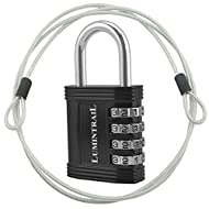 "Lumintrail Combination Padlock w/ 4' Braided Steel Security Cable - 4 digit lock 1"" shackle (assorted colors 1-2 pack) (1-Lock, Black)"