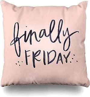 Ahawoso Throw Pillow Cover Watercolor Brush TGIF Thank Goodness Finally Friday Quote Cursive Fri Yay Hand Handwriting Design Home Decor Zippered Pillowcase Square 16x16 Decorative Cushion Case