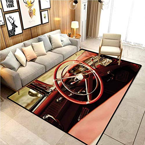 Cars Bath Rugs Rugs and Carpets Indoor Outdoor Rug Interior of an Antique Classic Aged Car Exquisite Control Board Details Retro Picture Carpet Sliders for Exercise Carpet for Rooms Red Silver