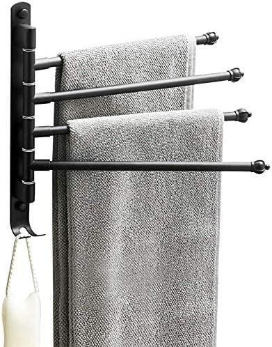 Lonffery Outdoor Towel Rack Black Bathroom Rack 4 Arm Wall Towel Bar for Pool Hot Tub Spa Matte product image