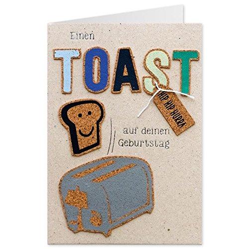 Sheepworld, Gruss & Co - 90433 - Klappkarte, Kork, Nr. 09, Einen Toast auf deinen Geburtstag