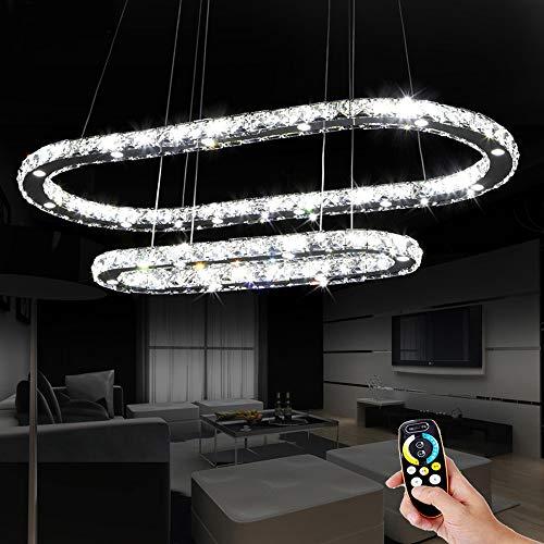 Pendelleuchte LED Kristallleuchter Dimmbar mit Fernbedienung Modern Eleganter 2 Ring Runder Kronleuchter für Esszimmer Höhenverstellbar Esstischlampe Hängelampe Schlafzimmer Wohnzimmer (D55+86CM)