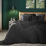 Eurofirany Romantische Tagesdecke, Steppdecke, Bettüberwurf Muster LIBI, einfarbige Überdecke, Steppung, Rüsche. (Schwarz, 220 x 240 cm)