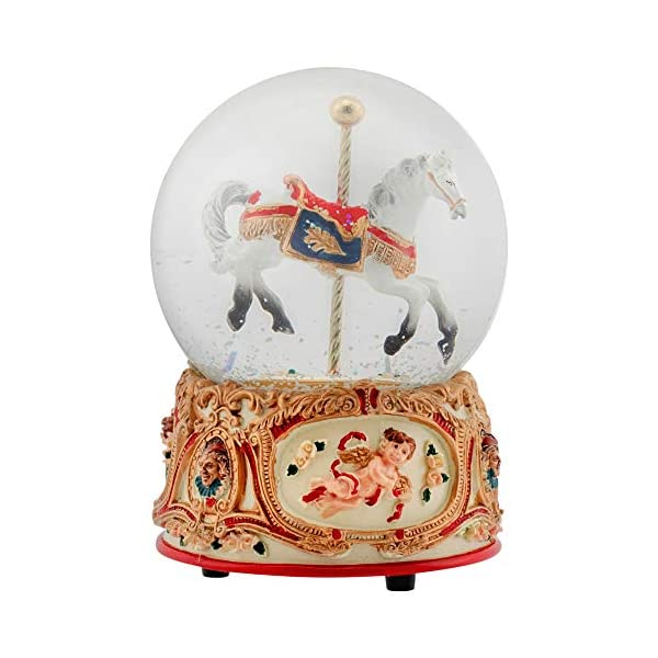 Elanze Designs Gilded Gold Tone Cupid and Carousel Horse 100MM Musical Water Globe Plays Tune Unchained Melody 7