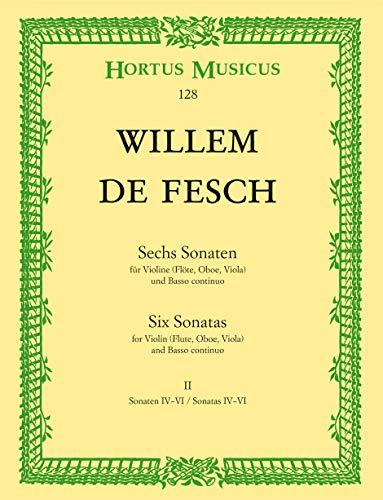 Sechs Sonaten für Violine (Flöte, Oboe, Viola, Alt-Viola da gamba) und Basso continuo -Sonaten G-dur, A-dur, h-moll. Für das Solo-Instrument Stimmen ... und Viola-Schlüssel)- (Heft 2). Spielpartitur