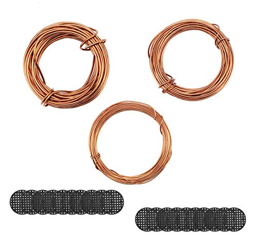 Fashionclubs Bonsai Wires Set, Bonsai Tree Training Wires Aluminum Craft Wires Size 1.0mm/1.5mm/2.0mm(Each Size is 32ft), with 20pcs Flower Pot Hole Mesh Pad Bonsai Bottom Grid Mat Mesh 2Inch in Dia