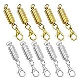 Dylan-EU - 10 cierres magnéticos para joyas, cierre de mosquetón con caja de plástico, cierres magnéticos para pulseras, collares y pulseras, color plateado y dorado