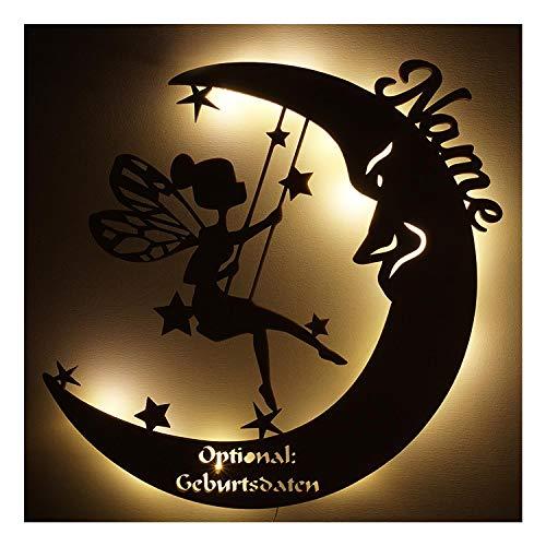 """Schlummerlicht Leuchtsterne Nachtlicht Led Lampe personalisiert""""Schaukel Fee auf Mond"""" Geschenke zur Geburt Feen Geschenk mit Name Geburtsdaten persönlich Mädchen"""