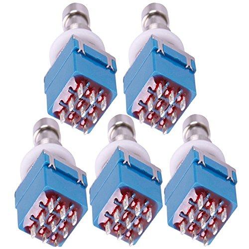 Supmico 5 X 3PDT 9-polig Box stampfen Gitarren-Effekt-fach Fußschalter True Bypass Metall Schalter Lötanschluss Blau