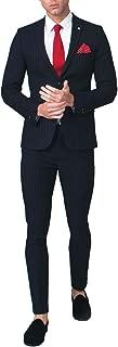 Avail London Mens Navy 2 Piece Suit Skinny Fit Notch Lapel Bold Chalk Stripe