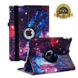 New iPad 7th Generation 10.2 Inch 2019 Case - 360 Degree Rotating Stand Smart Cover Case with Auto Sleep Wake for Apple iPad 10.2' 2019 (Color Galaxy