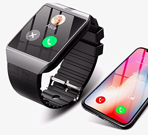 Reloj Inteligente Inteligente para Smartphone Compatible con Apple iOS, Android y Windows Bluetooth 4.0, con Soporte para Tarjeta SIM y función de Actividad física, Color Negro