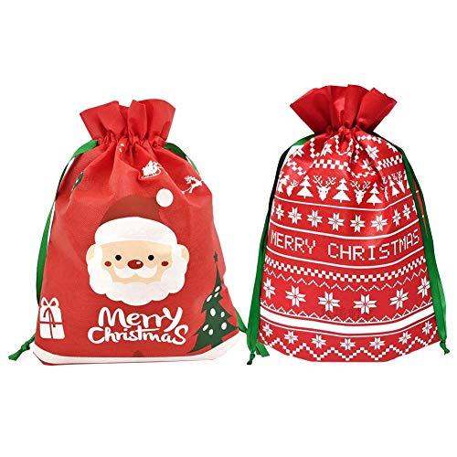 Weihnachten Kordelzug Taschen,12 Stück Xmas Party Geschenk Taschen mit String Wrapping Taschen mit Frohe Weihnachten Schriftzug Santa Vlies Geschenk Tasche für Weihnachten Party Favors