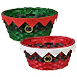 Festive Woven Bamboo Holiday Character Baskets - Set of 2