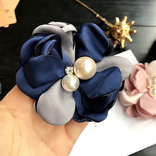 XZFCBH Stoff Kunst Broschen Große Blume Corsage Perle Brosche Pin für Damen Arbeitskleidung Anzug Hemd Zubehör 3