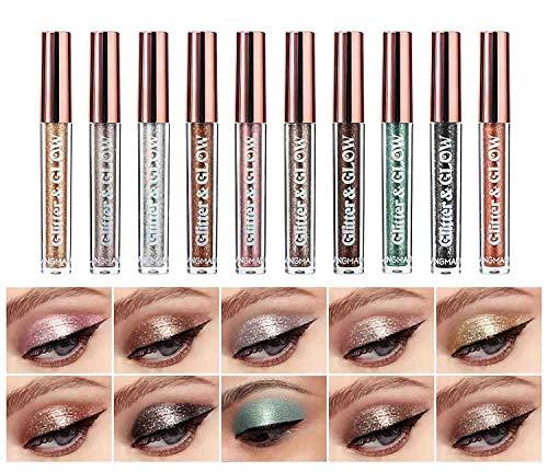 Sumeitang Liquid Glitter Eyeshadow Set 10 Colors Shimmer Diamond Naked Smokey Eye Looks QuickDrying Waterproof LongLasting Sparkling Eye Shadow Makeup Kits