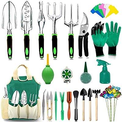 AOKIWO 52pcs Garden Tools Set Succulent Tools Set, Heavy Duty Aluminum Manual Garden Kit Outdoor Gardening Gifts Tools for Men Women