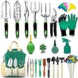 AOKIWO 82 Pcs Garden Tools Set Succulent Tools Set, Heavy Duty Aluminum Manual Garden Kit Outdoor Gardening Gifts Tools for Men Women (Green)