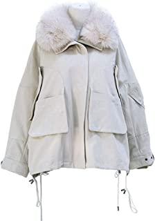 Short Hooded Parker Coat Lightweight Warm Winter Ladies Coat Long Sleeved Fur Collar Coat (Color : White, Size : L)