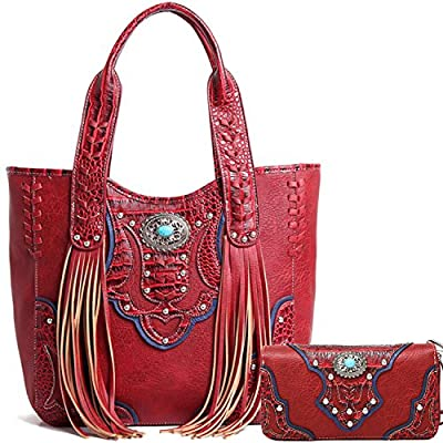 Cowgirl Trendy Western Concealed Carry Country Fringe Purse Handbag Totes Shoulder Bag Wallet Set Red
