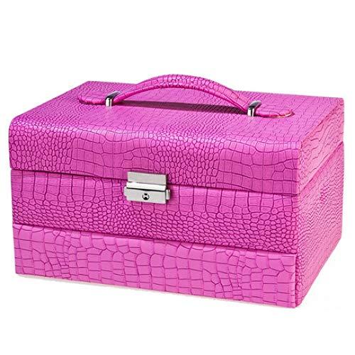 Sac Cosmétique Grande boîte de Rangement Automatique boîte à Bijoux Cas cosmétique Dames boîte de Rangement en Cuir Portable Rose 24 cm * 17 cm * 13,5 cm