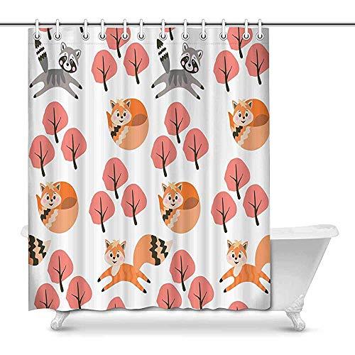 Duschvorhang Füchse & Waschbären Spielen im Herbst Wald wasserdicht Polyester Bad Vorhang Badezimmer-Sets mit Haken