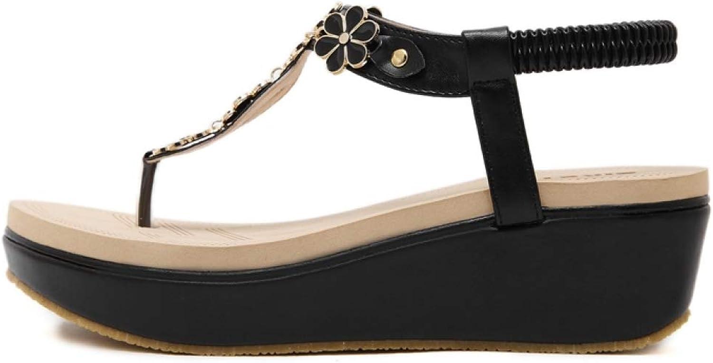 T-JULY Thong for Women Wedge Clip Toe Sandals Ladies Flip Flops High-Heel Platform Gladiator Slingback Summer shoes with Floral Metal Decoration