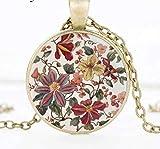 Halskette mit Anhänger Blumen Muster Motiv Cabochon Glas rund 25mm Blüten vintage Kette handmade...