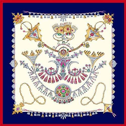 Zijde Dames Sjaal Sjaal Vierkant Mode Oversized Zakdoek Handleiding krimpen Ketting Patroon Retro Temperament Eenvoudige Ademende Dun Blauw