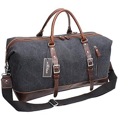Iblue Weekend Travel Bag Mens Duffel Bag Vinatge Canvas Leather B003(Xl 21'', Grey)