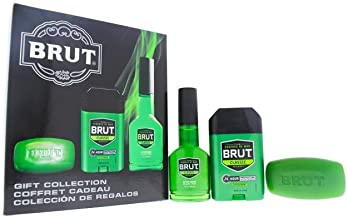 Faberge Co. Brut for Men 3 Piece Gift Set with After Shave Cologne Spray, Deodrant Stick & Bar Soap