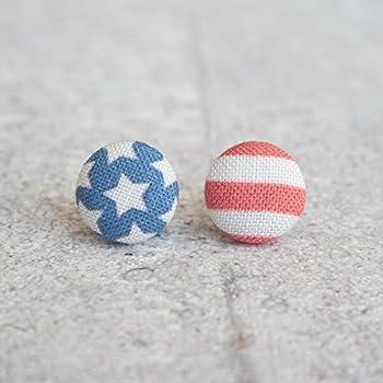 USA Flag Fabric Button Earrings