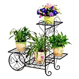 TEAYASON Iron Art Soporte de Flores Multicapa Balcón Sala de Estar Estante para Etas Personalidad (Tamaño: M),Grande