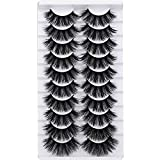 Mink Eyelashes 10 Pairs False Lashes Fluffy Pack 6D Volume Thick Long Dramatic Fake Lashes Geeneiya Soft Strip Reusable Handmade Eyelashes