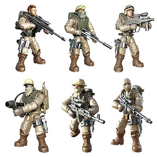 DRAKE18 Juguetes Figuras de acción de los Soldados de Las Fuerzas Especiales 6Pcs Figuras Juguetes para Desert Combat Militar Juguetes educativos para niños con Armas y Accesorios