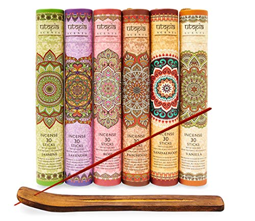 Karma Scents Premium Räucherstäbchen, Lavendel, Sandelholz, Jasmin, Patchouli, Rose, Vanille, 180 Stäbchen, inklusive Halter in jeder Box