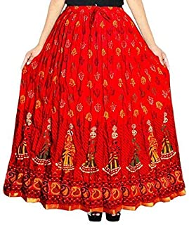 Kanika Fashion Women's Cotton Wrap Around Long Maxi Skirt Jaipuri Print (XXL, Red)