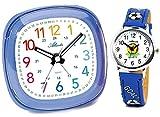 Kinderwecker Fussball ohne Ticken Set mit Armbanduhr Jungen - 1736-5 KAU