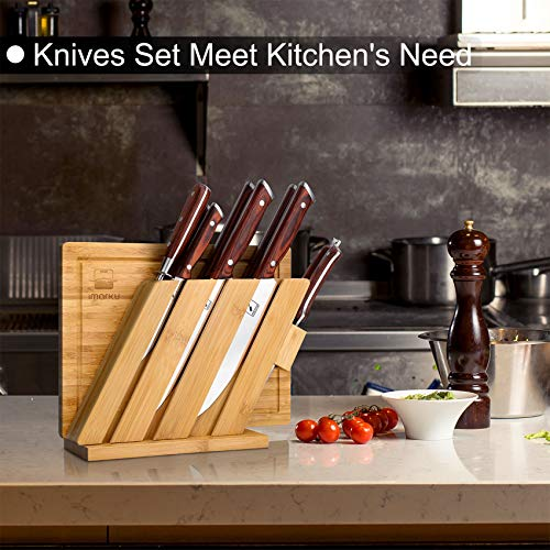 Knife Set with Cutting Board, imarku 10 Pieces Multifunctional Stainless Steel Knife Set with Bamboo Block, Manual Sharpening for Chef Knife Set