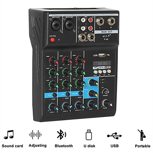 Best Buy! Professional Mini Audio Mixer 4 Channels DJ Controller Bluetooth USB Reverb Computer Stage...
