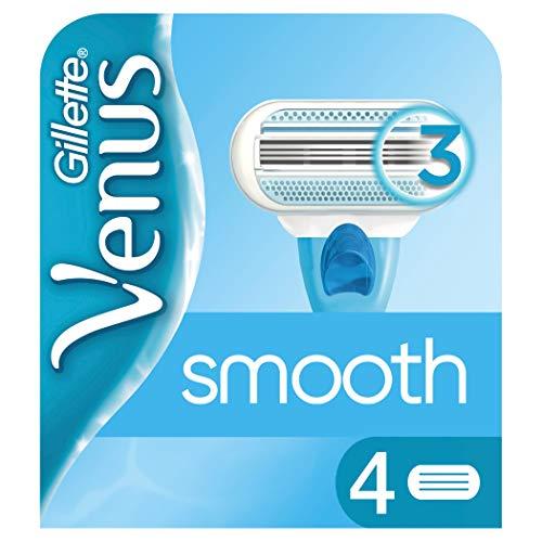 Gillette Venus Smooth Rasierklingen Damen mit Feuchtigkeitsstreifen für Hautschutz, 4 Ersatzklingen