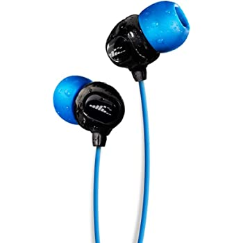 H2O Audio 100% Waterproof Headphones. Noise Canceling, Sweat Proof Surge+ Swim Headphones Perfect for Swimming & All Watersports, 'Black/Blue'