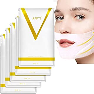 V Line Mask for Face and Chin, Reduces Double Chin, V Line Lifting, Chin Up, Firming and Moisturizing Mask, Pack of 5