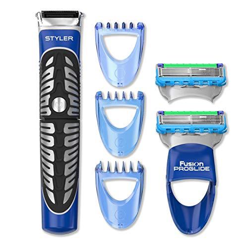 Gillette Styler Multiusos - Recortadora Barba, Maquinilla + 2 Recambios y Perfiladora para Dominar Cualquier Estilo de Barba