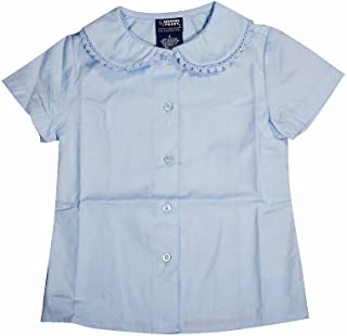 French Toast Big Girls Bow Stitch Trim S//S Button-Down