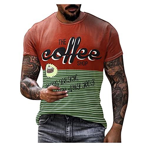 BIBOKAOKE Herren T-Shirt Klassischer Rundhals Kurzarm Fashion Vintage Brief Bedrucktes Kurzarmshirt Sommer Freizeit Workout Sport Männer T-Shirts Basic Regular Fit Crew Neck Muscle Shirts