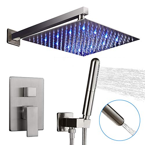 AUKTOPT LED Shower System Bathroom Rainfall Shower Faucet Fixture Set with Shower Head and Handheld Shower Brushed Nickel Contain Shower Trim Kit with RoughIn Valve